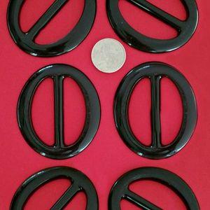 Accessories - 6 Pc T-Shirt Slide, Buckle Clip Oval-Black ♥